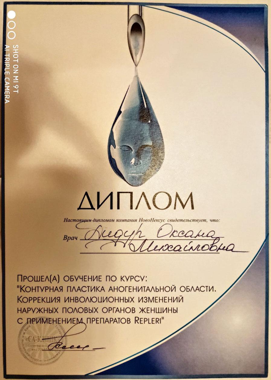 Диплом Дидур О. М. Контурная пластика наружных половых органов женщины