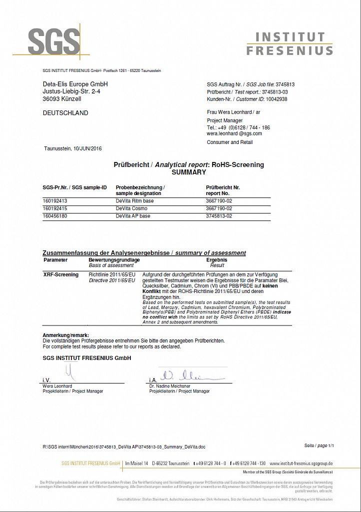 Международный Сертификат DeVita серии Base на токсикологию