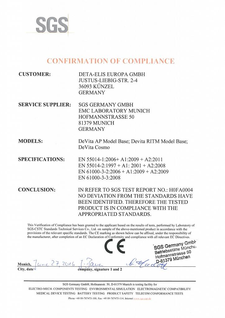 Международный Сертификат DeVita серии Base на электромагнитную совместимость